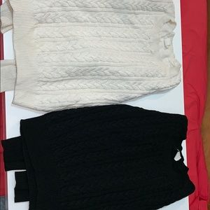 H&M cream and black knit sweaters